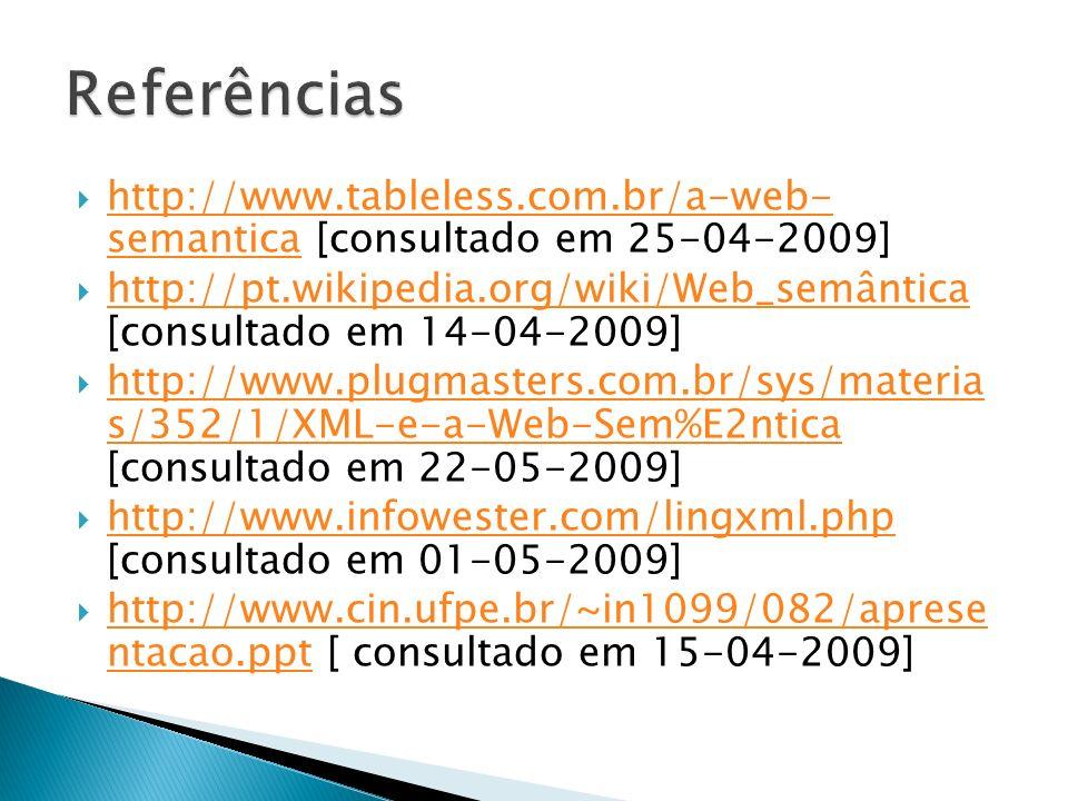 Referências http://www.tableless.com.br/a-web- semantica [consultado em 25-04-2009]